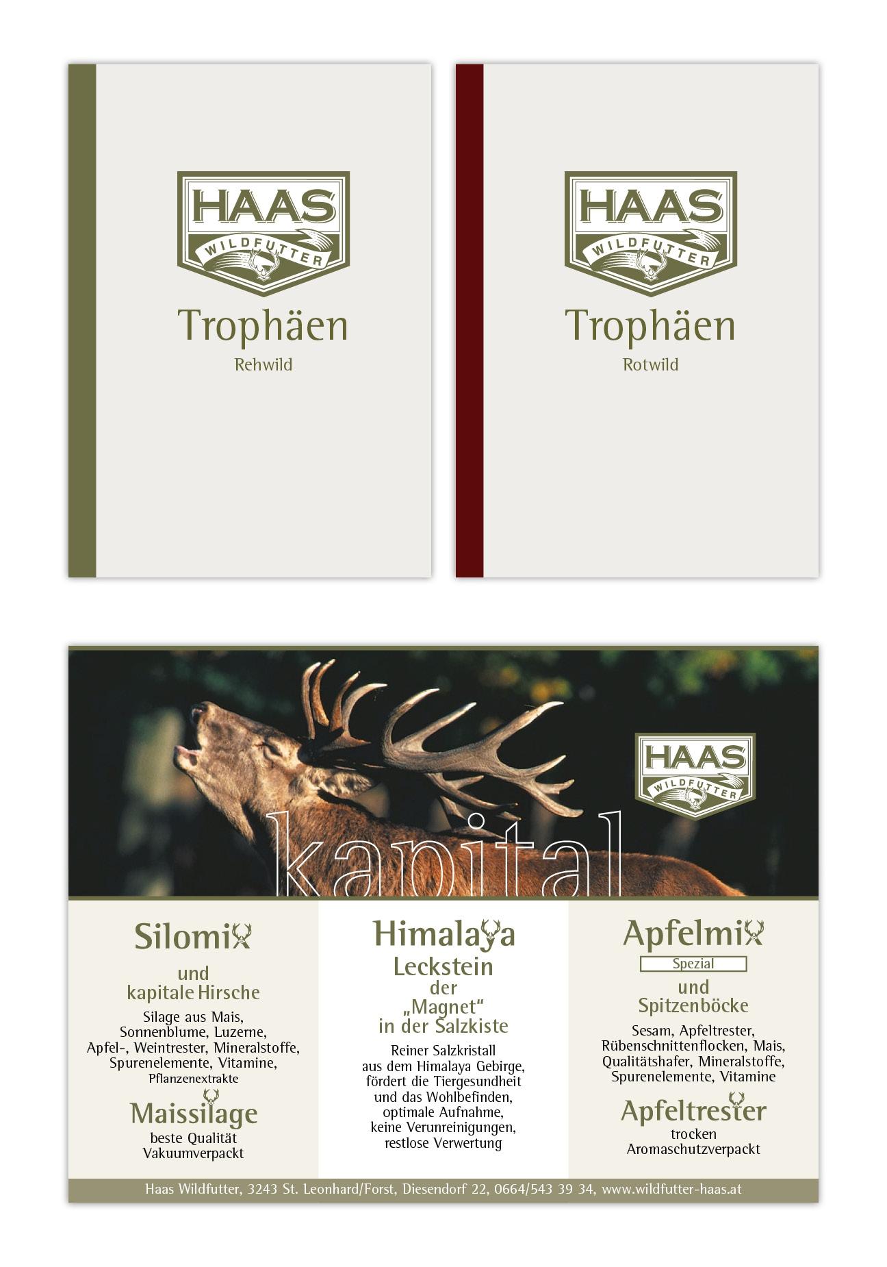 Haas Wildfutter Trophäenbuch und Inserat