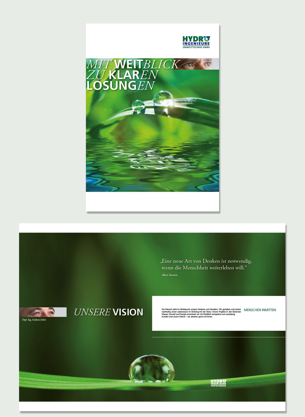 Hydro Ingenieure Corporate Identity Imagebroschüre Titel