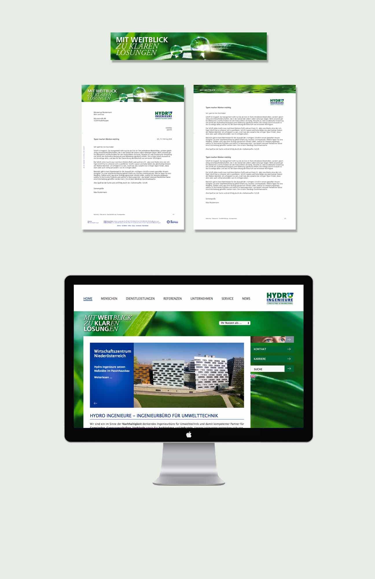 Hydro Ingeneure Corporate Identity Geschäftsausstattung Website
