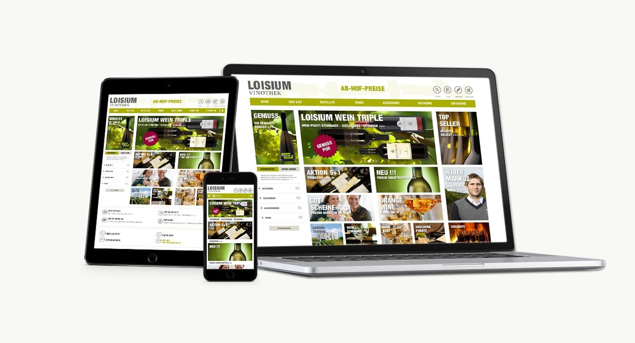 Loisium Online Shop Homepage im responsive Webdesign