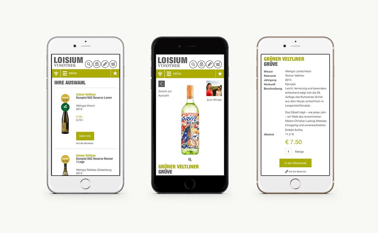 Loisium Online Shop Detailseite auf einem Mobile / Handy