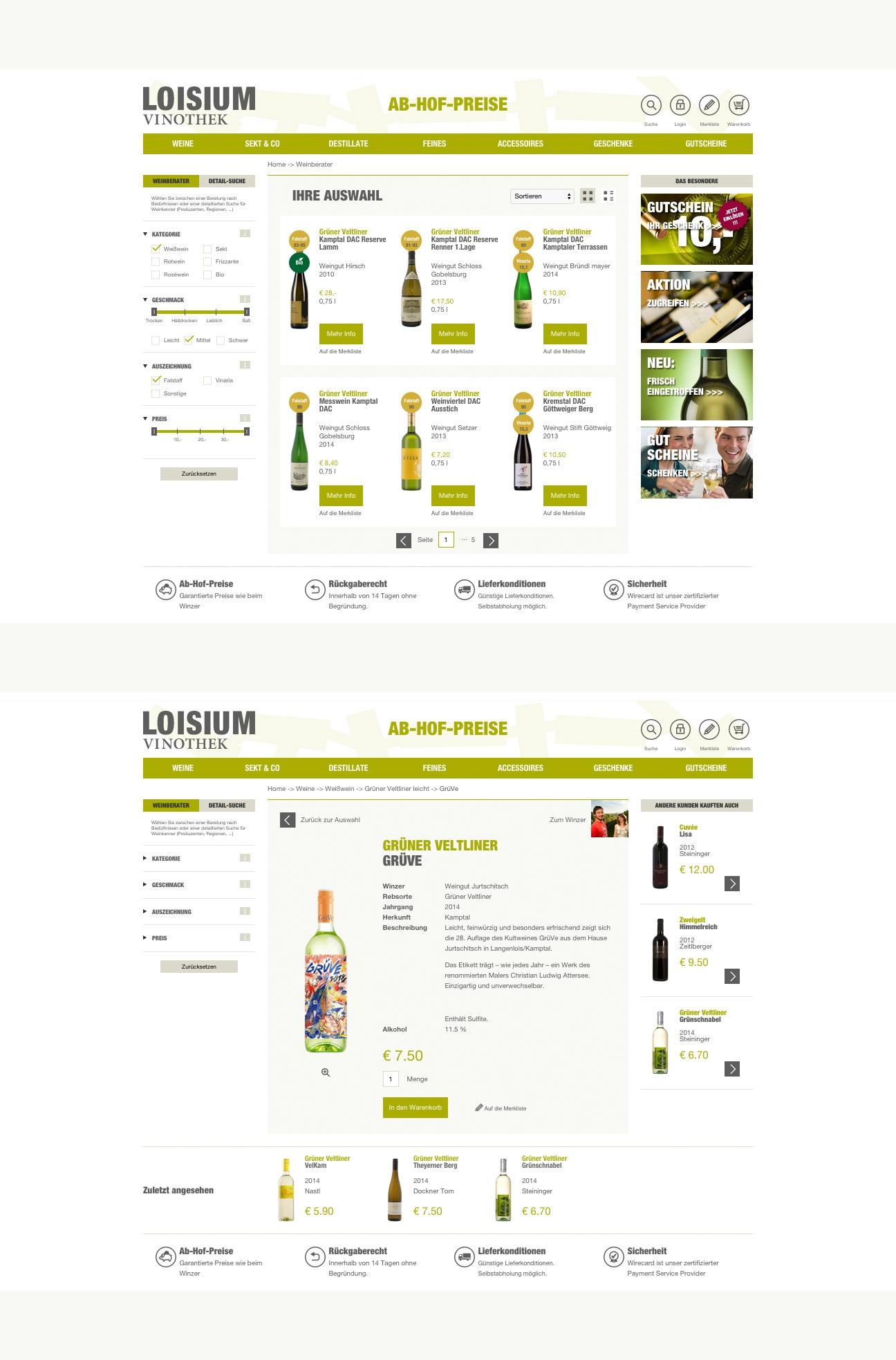 Loisium Online Shop Wein-Detailseiten