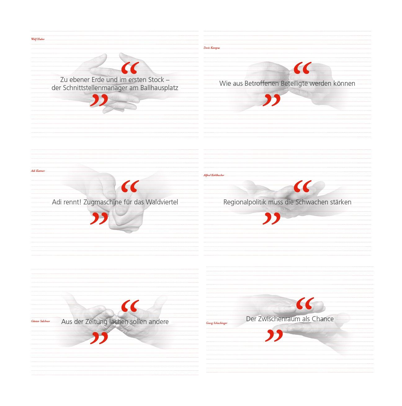 Regionen sind auch nur Menschen: Buchgestaltung - Hände interpretieren den Interviewtitel