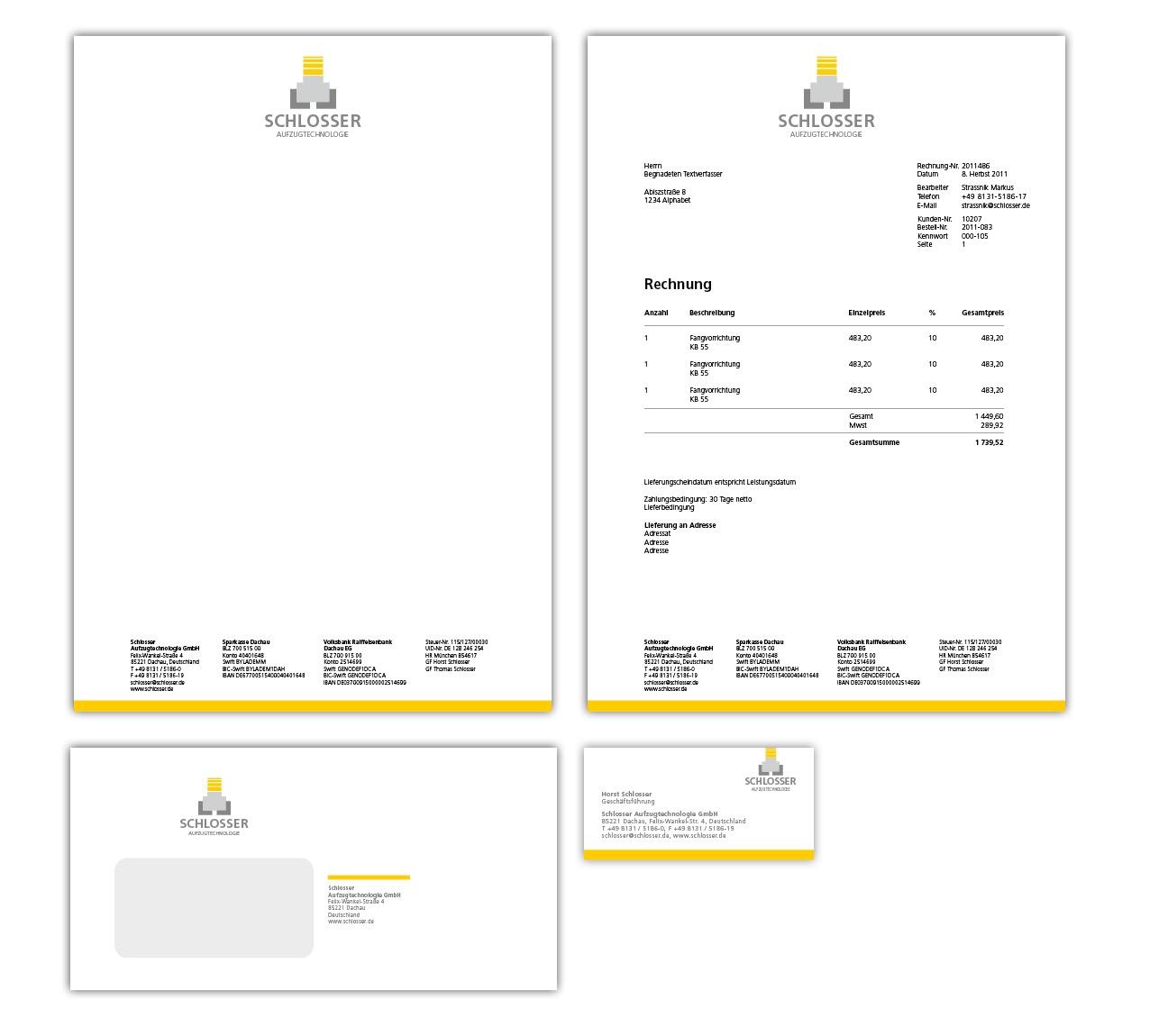 Schlosser Geschäftsausstattung - Brief, Rechnung, Kuvert, Visitenkart