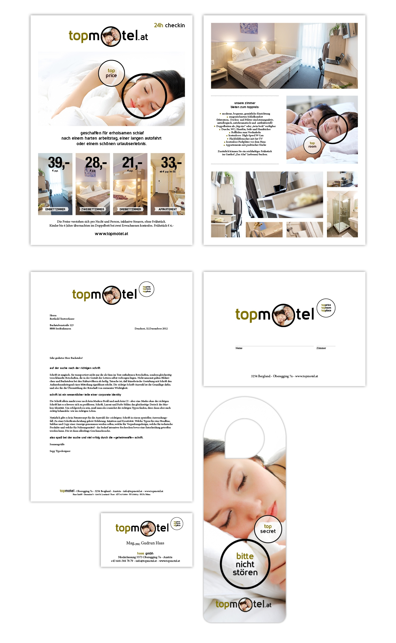 Topmotel Corporate Identity Drucksorten