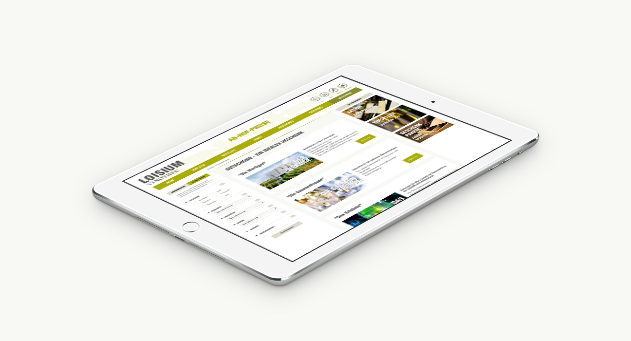 Loisium Online Shop Detailseite auf Tablet