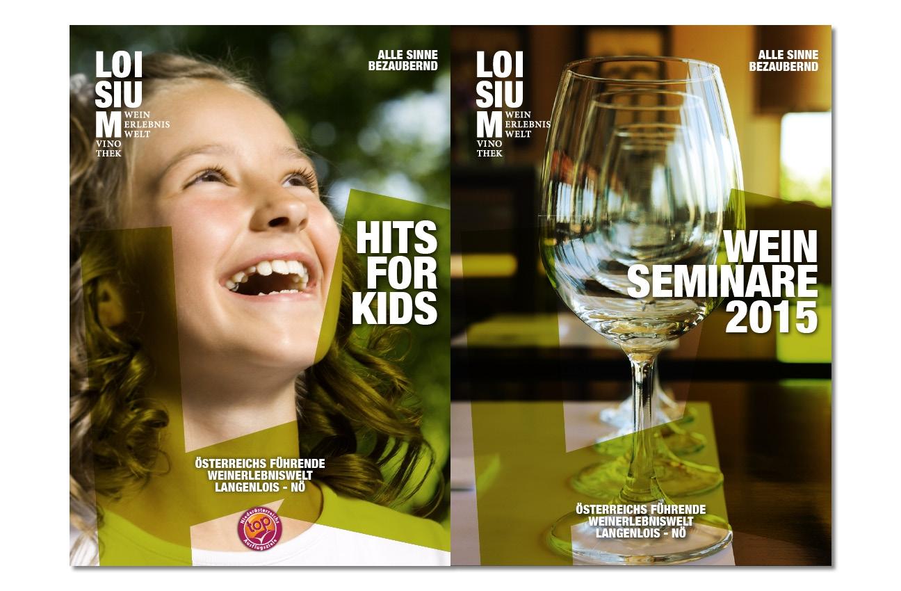 Loisium Folder Titelseiten Kids und Weinseminare